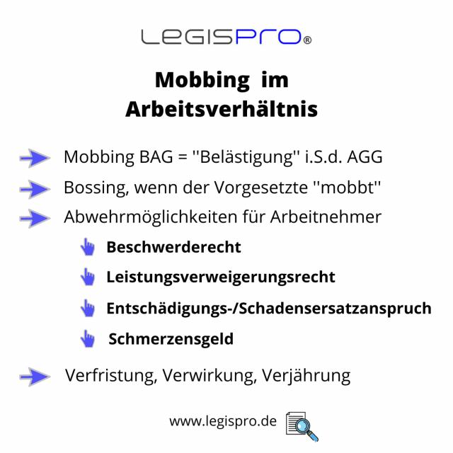 Mobbing Bossing am Arbeitsplatz, Bossing Checkliste, Rechtsberatung, Arbeitsrecht Anwalt Frankfurt am Main